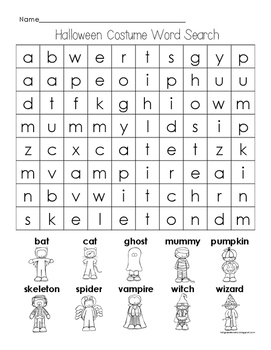 Halloween Costume Word Search