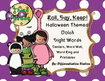 "Halloween Costumes ""Roll, Say, Keep!"" 3rd Grade Dolch Sigh"