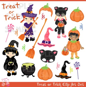 Halloween Costumes Witches Witch Hats Little Girls Clipart Set