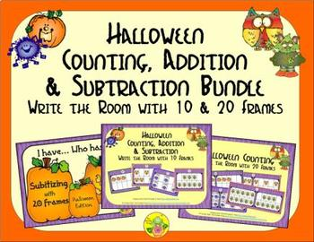 Halloween Count, Add & Subtract Bundle with 10 & 20 Frames