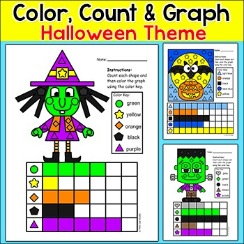 Halloween Math Count and Graph Activities: Witch, Bat, Fra