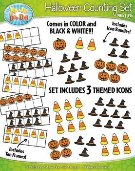 Halloween Counting and Ten Frames Math Clipart Set — Inclu