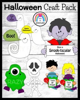 Halloween Craft Pack: Ghosts, Vampire, Monster, Skeleton,
