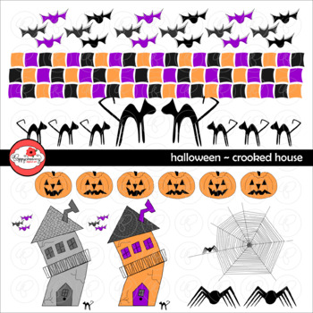 Halloween Crooked House Clipart by Poppydreamz