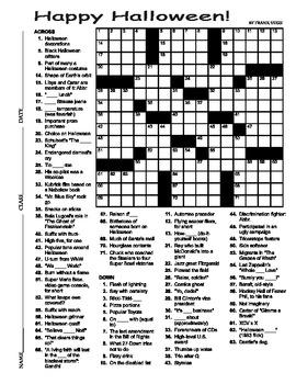 Halloween Crossword Puzzle 15 X 15