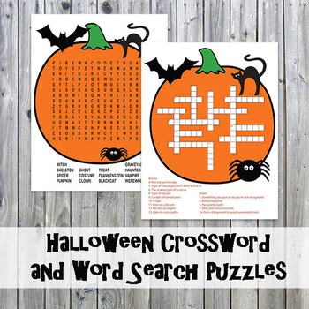 Halloween Crossword Puzzle and Word Search