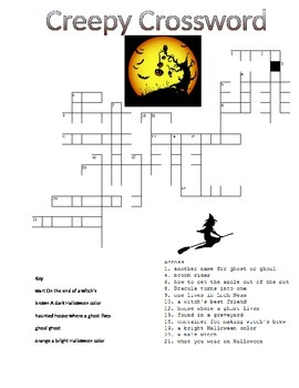 Halloween Crossword Puzzle (spooky creepy)