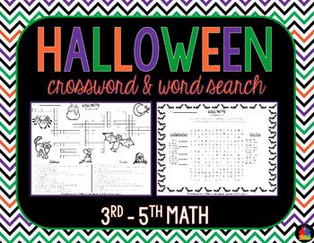 Halloween Crossword & Word Search (3rd - 5th Math)