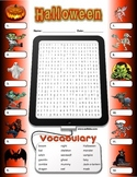 Halloween Crossword, Wordsearch, Writing worksheets