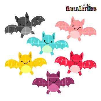 Halloween Cute Bats Clip Art - Great for Art Class Projects!
