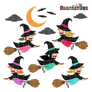 Halloween Cute Witches Clip Art - Great for Art Class Projects!
