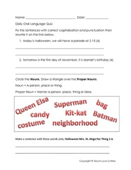 Halloween Daily Oral Language Quiz - Freebie!