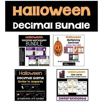Halloween Decimal BUNDLE (Worksheets, Task Cards, and Revi