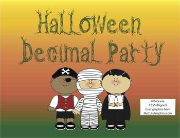 Halloween Decimal Party- Math Activity