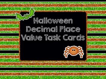 Halloween Decimal Place Value Task Cards