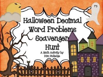 Halloween Decimal Word Problem Scavenger Hunt