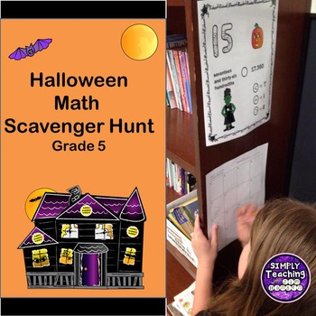 Halloween Math Review Scavenger Hunt Game Comparing Decima