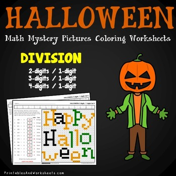 Halloween Division Coloring Worksheets (Division Color by