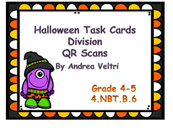 Halloween Division Task Cards with QR Code (no remainders)