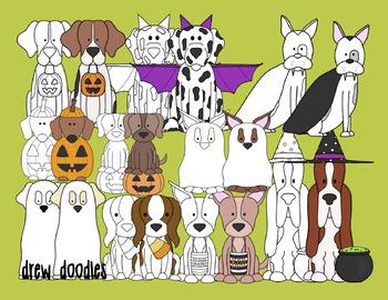Halloween Dogs Digital Clip Art Set- Color and Black Line COMBO