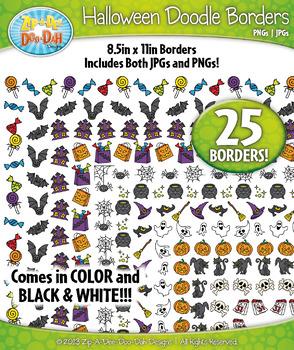 Halloween Doodle Frame Borders Set  — Includes 25 Graphics!
