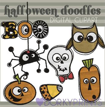 Halloween Doodles Digital Clip Art Images
