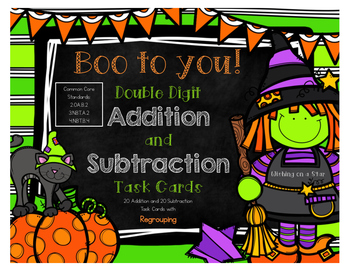 Halloween Double Digit Addition and Subtraction with Regro