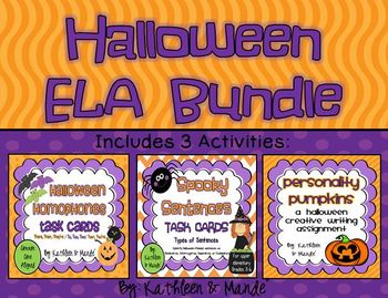 Halloween ELA Bundle: Homophones, Sentence Types, Creative