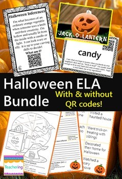 Halloween ELA Bundle {with QR codes or without}