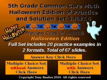 Halloween Edition 5th Grade Math 5 NBT.6 Find Quotients of