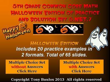 Halloween Edition 5th Grade Math 5.NBT.7 Add, Subtract, Mu