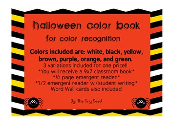 Halloween Emergent Reader and Coloring Book