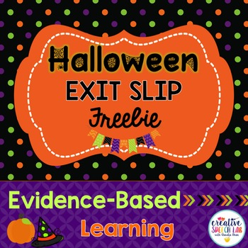 Halloween Exit Slip Freebie for Articulation, Language and