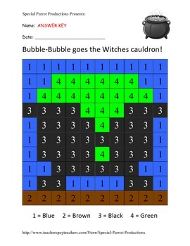 Halloween FREE - Witches Cauldron - Color by Numbers!
