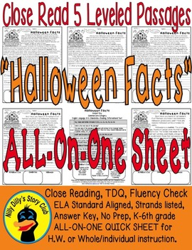 Halloween Facts Close Read 5 Level Passages Fluency TDQ's