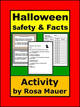 Halloween Safety for Kids Task Cards and Worksheet