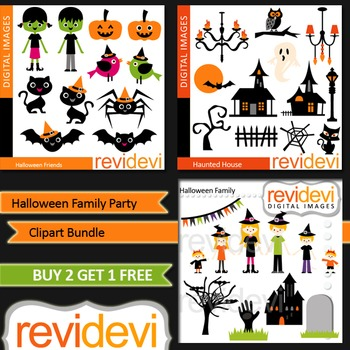 Halloween Family Party - Clip art (3 packs) commercial use