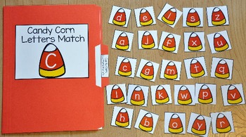 Halloween File Folder Game:  Candy Corn Letters Match