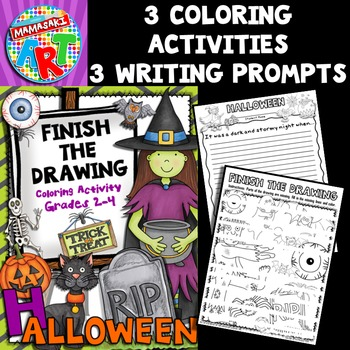 Halloween Finish The Drawing Coloring Activity