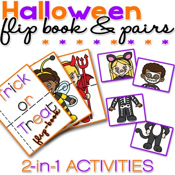 Halloween Flip Book and Pairs - 2 in 1 - NO PREP - PRINT &
