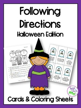 Halloween Following Directions Cards & Coloring Sheets