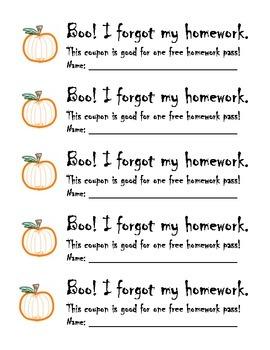 Halloween Free Homework Pass