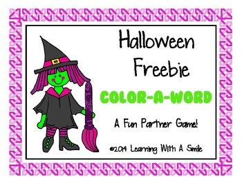 Halloween FREEBIE Partner Game - Print & Play! Color-A-Word