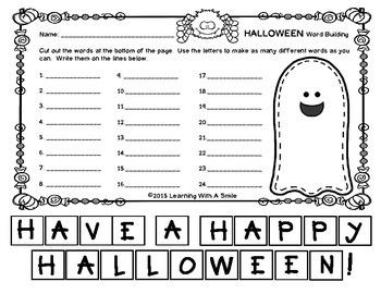 Halloween Freebie - Word Building - No Prep Literacy Center