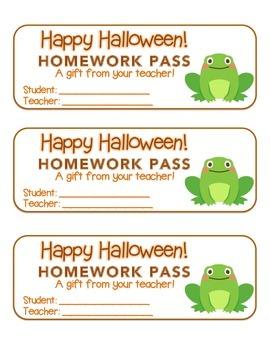 """Halloween"" Frog - Homework Pass – Holiday FUN! (full colo"