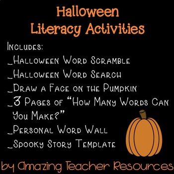 Halloween Fun! Packet with 10 Pages of Halloween Literacy