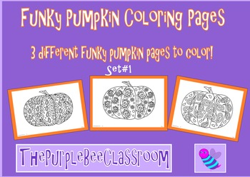 Halloween Coloring Pages Funky Pumpkins Set #1
