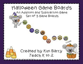 Game Boards - Addition and Subtraction Practice - Hallowee
