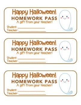 """Halloween"" Ghost - Homework Pass – Holiday FUN! (full col"