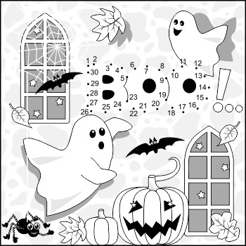 Halloween Ghosts Connect the Dots and Coloring Page, Comme